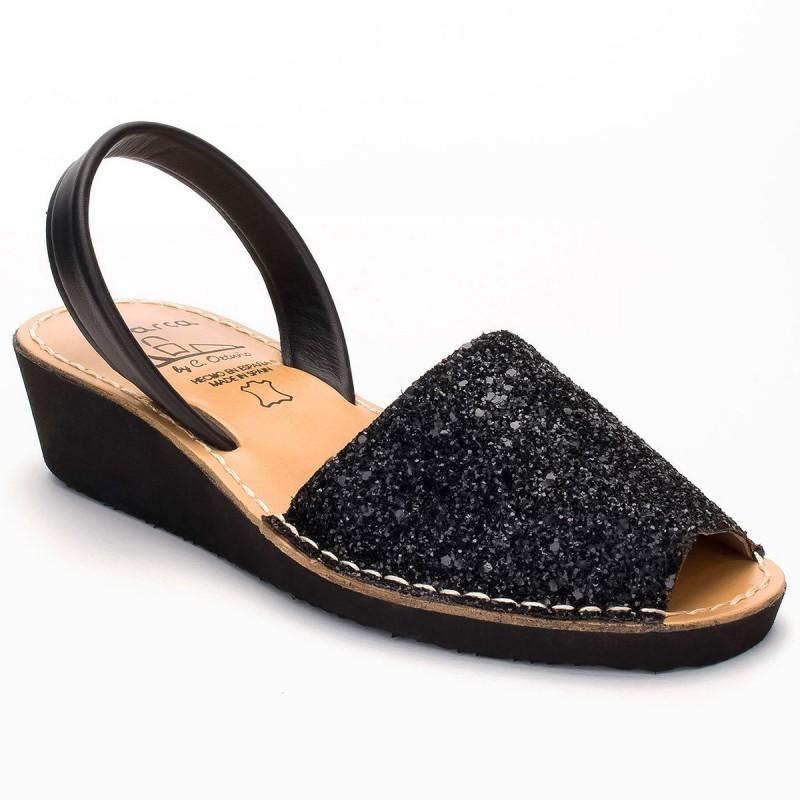 Menorquina Cuña Glitter Negro